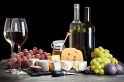 Wine, grapes and cheese Stock Photo