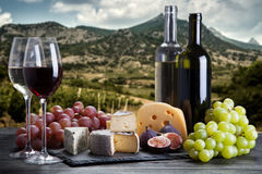 Wine, grapes and cheese. Assortment Royalty Free Stock Photography