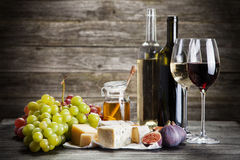 Wine, grapes and cheese. Assortment Royalty Free Stock Photo