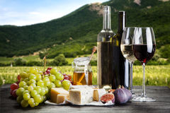 Wine, grapes and cheese. Assortment Royalty Free Stock Image