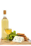 Wine, grapes, cheese and bread Royalty Free Stock Images