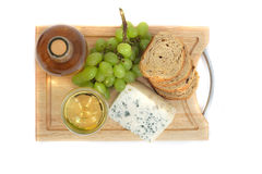 Wine, grapes, cheese and bread Royalty Free Stock Photo
