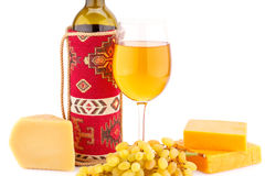 Wine, grapes and cheese. Isolated on white background Royalty Free Stock Images