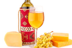 Wine, grapes and cheese. Isolated on white background Stock Photo