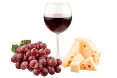 Wine glass with cheese and grapes isolated