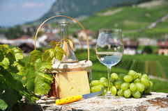 Wine and grapes. Wine, grapes and cheese. Switzerland Royalty Free Stock Photos