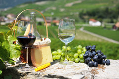 Wine and grapes. Wine, grapes and cheese. Switzerland Royalty Free Stock Photography