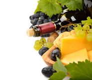 Wine, grapes and cheese Royalty Free Stock Photos