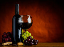 Wine and Grapes with Copy Space Royalty Free Stock Photography