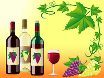 Wine with grapes and decorative pattern Stock Photos