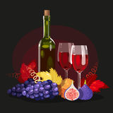 Wine, grapes and figs Stock Image