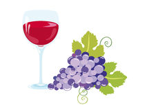 A glass of good wine. With fresh grapes. Warm feeling of comfort and relaxation. Vector background. Vector illustration on a white background. Vector food Stock Images