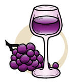 Wine and Grapes. A hand-drawn ink drawing of a glass of wine with some grapes Stock Photo