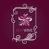 Wine grapes label background Stock Photos