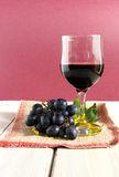 Wine, grapes and leafs Stock Photography