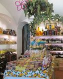 Wine, grapes and lemon shop. Wines and citrus from local wine shop in Southern Italy Amalfi Coast region stock photo