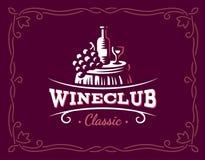 Wine and grapes logo - vector illustration, emblem stock illustration