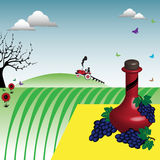 Wine and grapes near a vineyard. Abstract colorful illustration with red wine bottle and grapes on a yellow blanket near a vineyard at countryside Stock Image