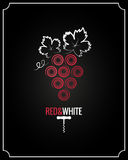 Wine grapes red and white on black background Stock Photography
