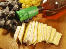 Wine grapes still life, wooden table stock photography