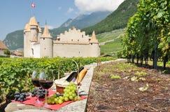 Wine and grapes. Switzerland Stock Image