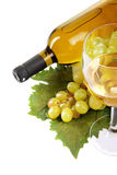 Wine and grapes on vine leaf Stock Image