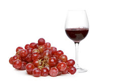 Wine and grapes on a white background Royalty Free Stock Photography