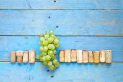 Wine grapes and wine corks, Stock Images