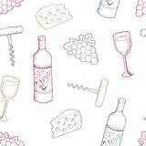 Wine graphic color seamless pattern background sketch illustration vector Royalty Free Stock Image