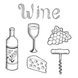 Wine graphic set art black white isolated illustration Royalty Free Stock Photos