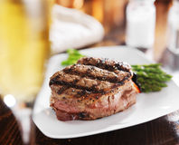 Wine and grilled steak filet Stock Photography