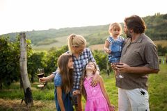 Wine grower family in vineyard stock photo