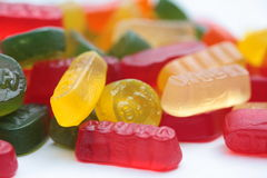 Wine gums. Assorted winegums in different sorts of shapes, tasts and colors Royalty Free Stock Image