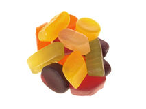 Wine Gums. Handful of mixed wine gum sweets isolated white background Stock Photo