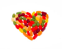 Wine gums per colour in a heart shape Royalty Free Stock Photo