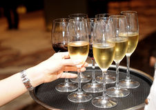 Wine and hand Stock Photography