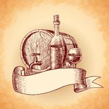 Wine hand drawn background Royalty Free Stock Photo