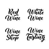 Wine hand drawn calligraphy lettering set. Vector typography label or package design elements royalty free illustration