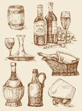 Wine hand drawn collection Stock Photo
