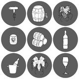 Wine hand drawn icons Stock Photo