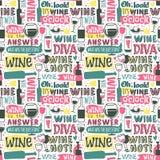 Wine hand drawn logo badge seamless patterns Stock Photo