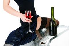 Wine in hands stock images