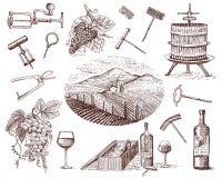 Wine harvest products, press, grapes, vineyards corkscrews glasses bottles for menus and signage in the bar. engraved royalty free illustration