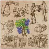 Wine harvest, vintage - an hand drawn vector set. royalty free illustration