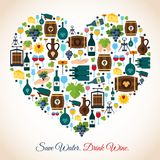 Wine heart icons. Drink wine save water decorative icons heart vector illustration royalty free illustration