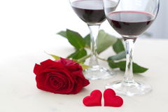 Wine, heart and rose Royalty Free Stock Image