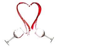Wine heart splash. Isolated on white background Royalty Free Stock Photos