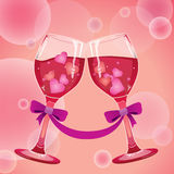 Wine with Hearts Royalty Free Stock Image
