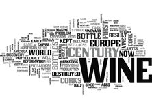 Wine History When The Cork Met The Bottle Word Cloud. WINE HISTORY WHEN THE CORK MET THE BOTTLE TEXT WORD CLOUD CONCEPT Stock Photography