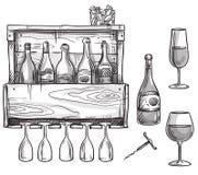 Wine holder, bottles and glasses Stock Photography